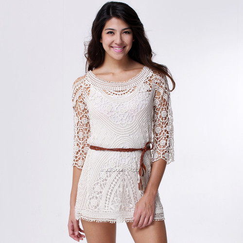 Women Vintage Floral Crochet Crop Sleeves Hollow Out Long Blouse Lady Mini Dress Top Tops T shirt-in Dresses from Apparel & Accessories on Aliexpress.com