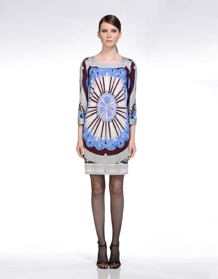 Geometry Printed Long Sleeve Loose Dress $129