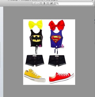top converse shorts bow batman hair accessory