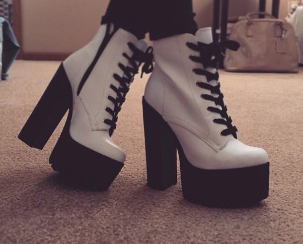 shoes babyspice spicegirls heels shoes boots black whi