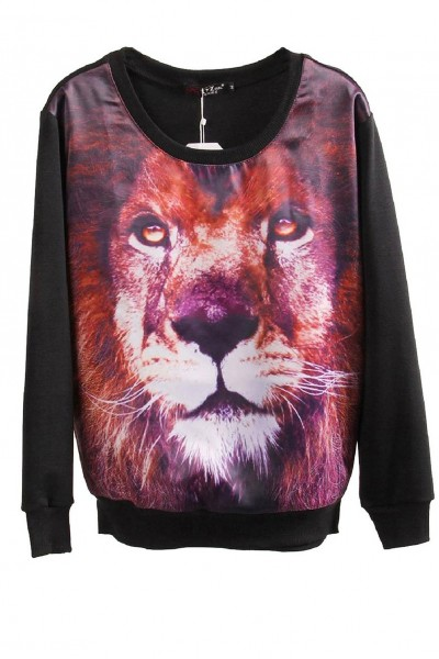 KCLOTH Pullover Hoodie Winter Warm Sweatshirt in Tiger Printed
