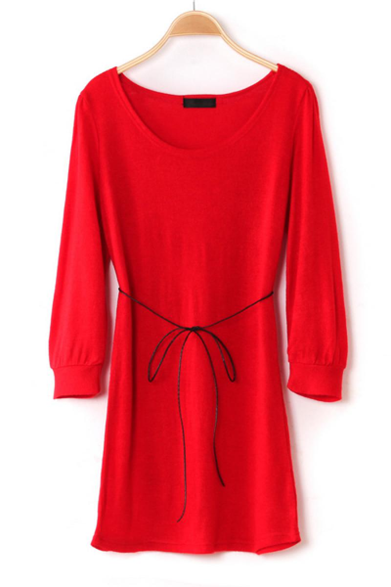 Spring New Section Red Puff Sleeve Loose Knitted Dress,Cheap in Wendybox.com