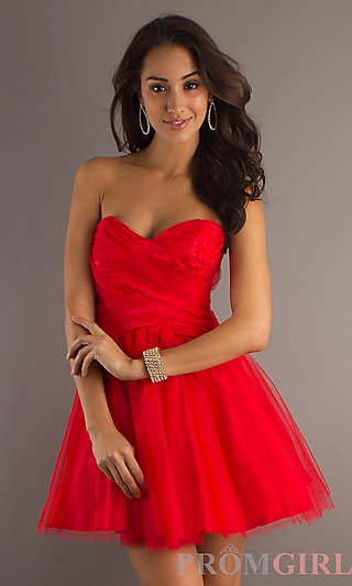 Strapless Short Red Dress, LA Glo Short Dresses in Red- PromGirl