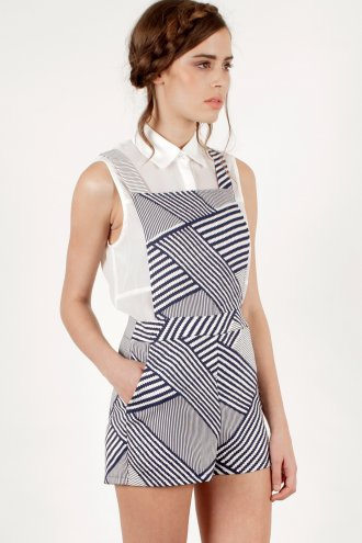 White & Navy Zig Zag Print Pinafore Playsuit -  from Lavish Alice UK
