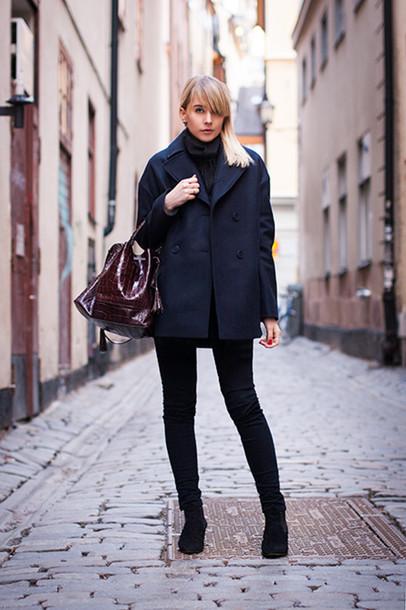 chaloth blogger coat pea coat handbag