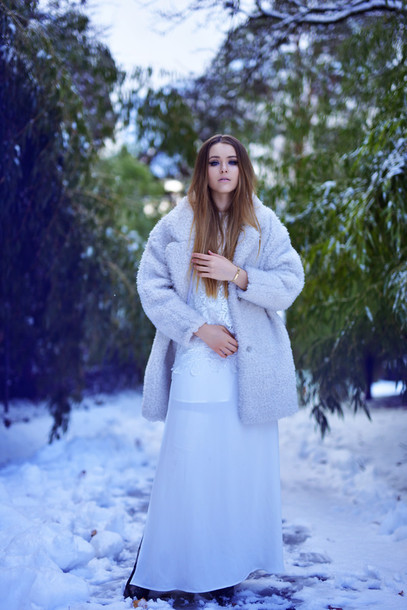 kayture blogger winter outfits coat shoes top skirt jewels white winter outfit white converse white coat winter look winter coat white fluffy coat fluffy fuzzy coat dress white dress maxi dress