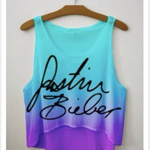 shirt blue shirt purple shirt justin bieber tie dye signature purple and blue tank top biebs. blue. color. swag. purple. pretty top fangirl dip dyed ombre swag dip dyed neon skirt tank top crop tops purple and blue crop tank