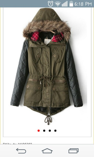coat olive green leather sleeves