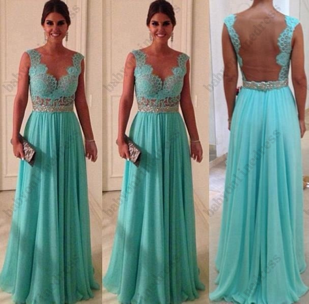 Vestidos formales de fiesta Hot Sale Sheath Sweetheart Beadings Nude Back Blue Lace Chiffon 2013 Sexy Long Evening Dresses WD022-in Evening Dresses from Apparel & Accessories on Aliexpress.com