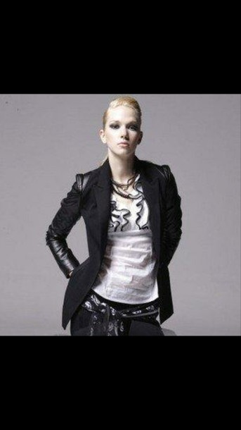 jacket blazer leather sleeves leather shoulder