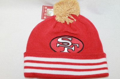 San Francisco 49ers Stocking Cap Knit Jersey Stripped Cuffed Pom Mitchell Ness | eBay