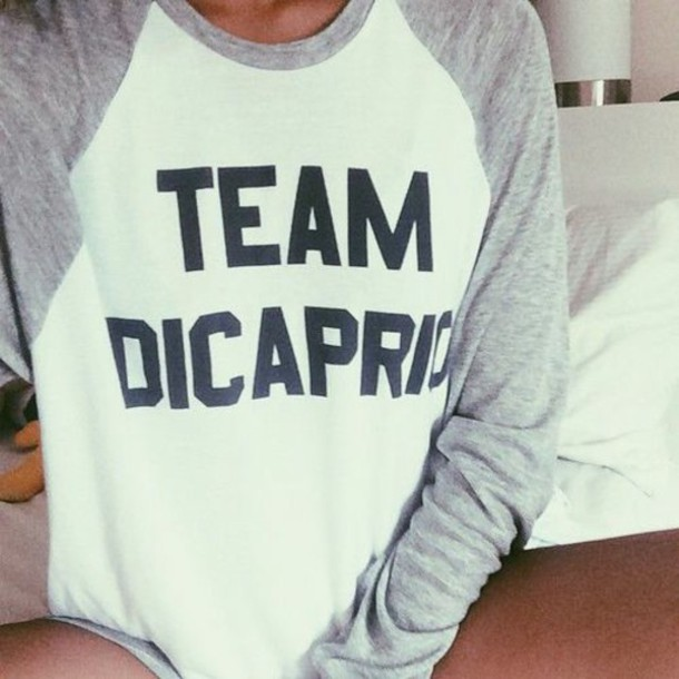 shirt white and grey shirt team blouse leonardo dicaprio funny baseball tee sweater dicaprio t-shirt top grey and white baseball.  tshirt. di caprio girly girl girl top girl teeshirt cute shirt style white top white t-shirt