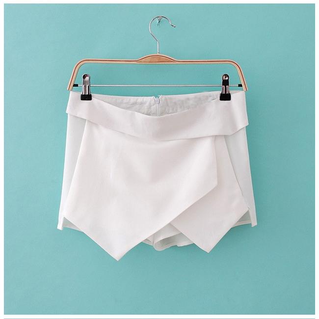 3011 Black White Women Wrap Mini Skort Skirt Irregular Laminated Flanging O | eBay