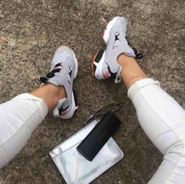 shoes grey shoes black orange trainers sneakers white bag Reebok