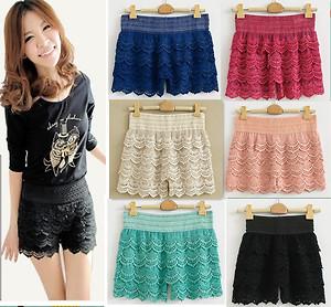 Hot Womens Korean Sweet Cute Crochet Tiered Lace Shorts Skorts Pants s M L XL | eBay