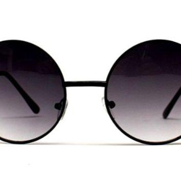 "V105-vp 2"" Lens Vintage Retro Round Circle Metal Sunglasses (Sd Black W Pouch, Uv400) on Wanelo"