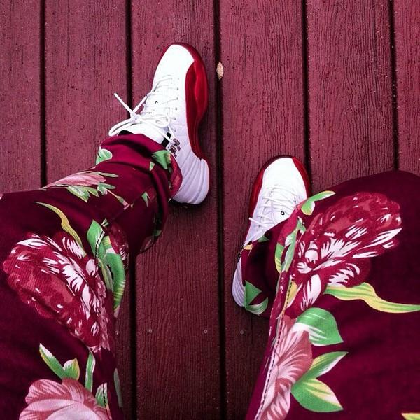 jeans pants floral red fashion shoes jordans white dope flowers kanye west color jeans Jay Z justin bieber joggers