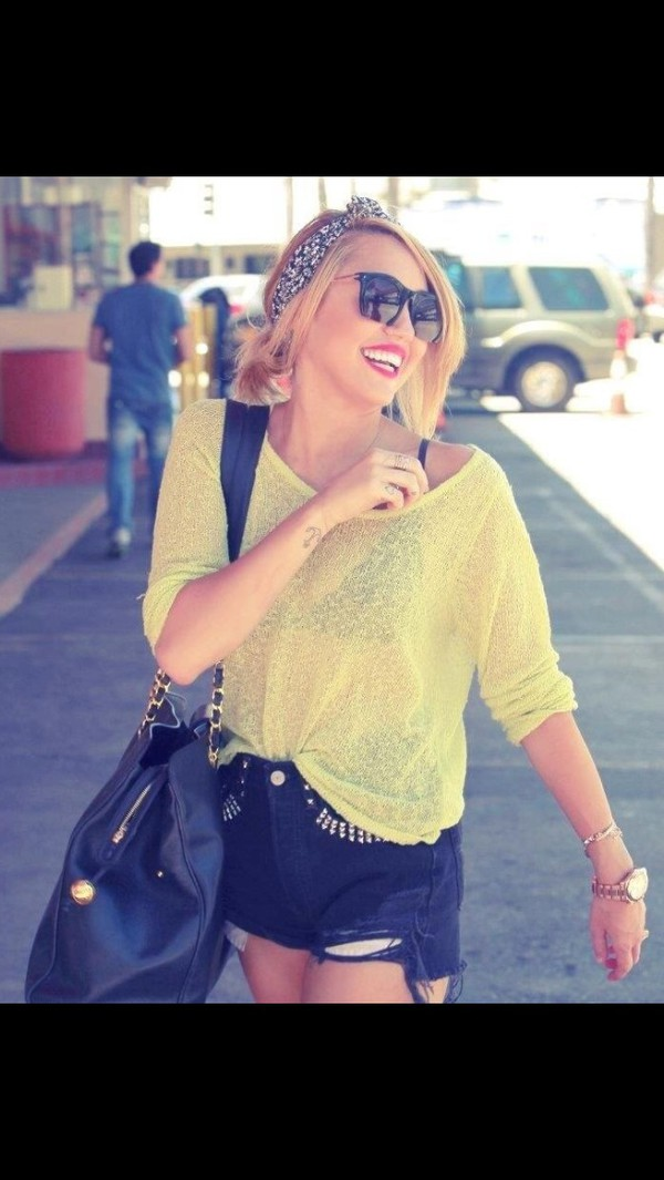 shirt miley cyrus green lemon color sunglasses shorts