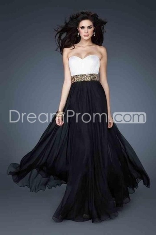 dress prom dress long prom dress prom dress gown wedding guest dress long gown black white gold strapless wedding guest gown sweetheart dress
