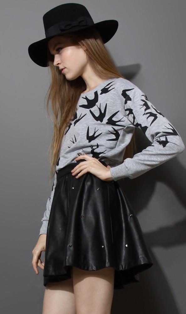 Grey Long Sleeve Swallow Print Loose Sweatshirt - Sheinside.com