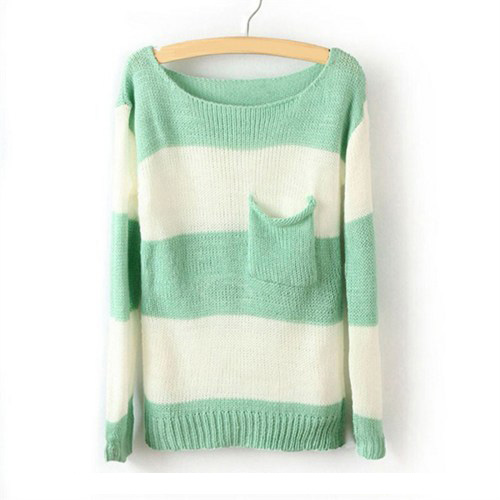 Green White Striped Long Sleeve Pullover Sweater on Luulla