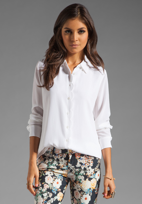 EQUIPMENT Brett Clean with Scallop Blouse in Bright White at Revolve Clothing - Free Shipping!