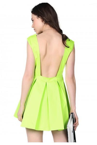 KCLOTH Neon Green Ruffle Backless Dress