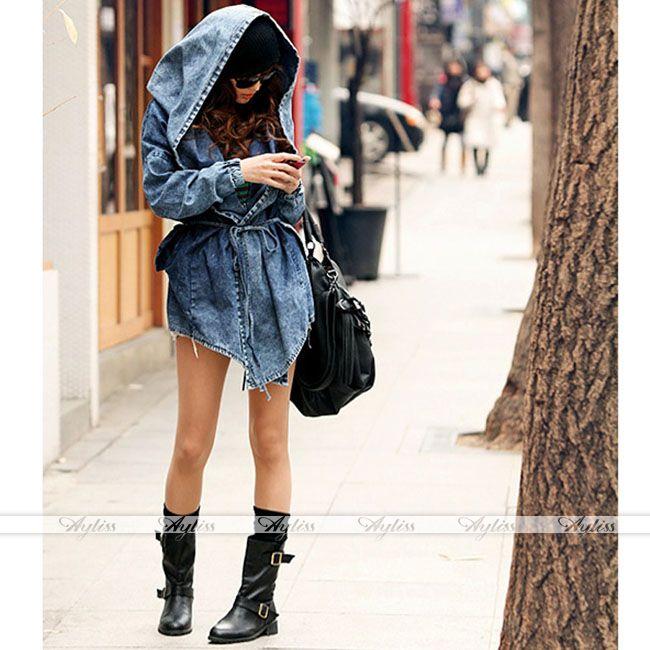Cool Women Denim Trench Oversized Hoodie Hooded Outerwear Jean Coat Jacket Gift | eBay