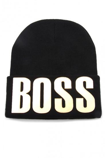 LoveMelrose.com From Harry & Molly   Boss Gold Letter Studded Hat - Black