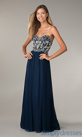Strapless Beaded Long Dresses, Long Prom Gown - Simply Dresses