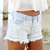 Blue Shorts - Denim Cut-Off Shorts with Lace | UsTrendy
