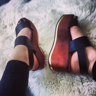 shoes wedges platform shoes wooden wedges wood