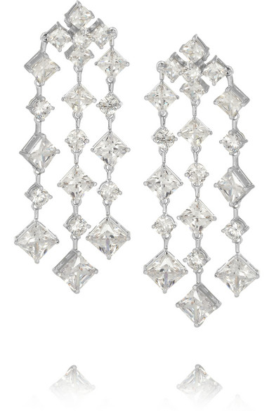 Kenneth Jay Lane | Rhodium-plated cubic zirconia earrings | NET-A-PORTER.COM