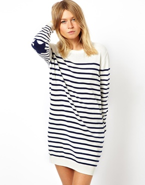ASOS | ASOS Striped Jumper Dress With Star Patch at ASOS