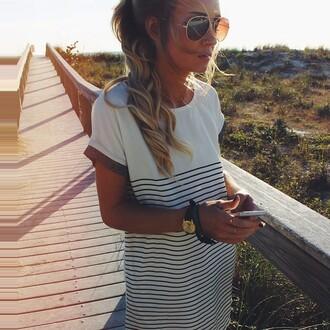 dress summer dress black white brown girl blogger hipster menswear hipster sun watch waves striped dress white dress