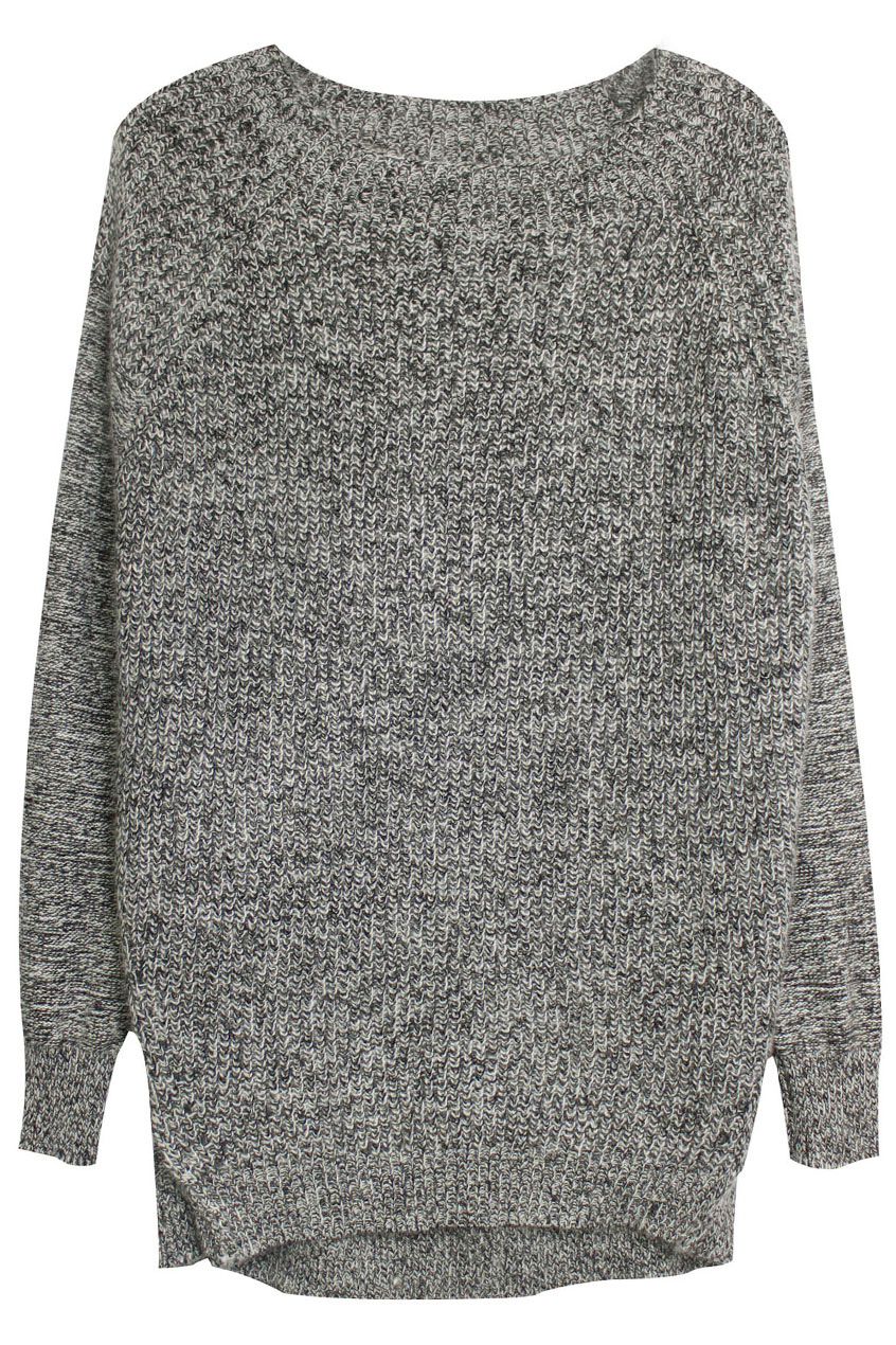 ROMWE | ROMWE Asymmetric Long Sleeves Dark Grey Jumper, The Latest Street Fashion