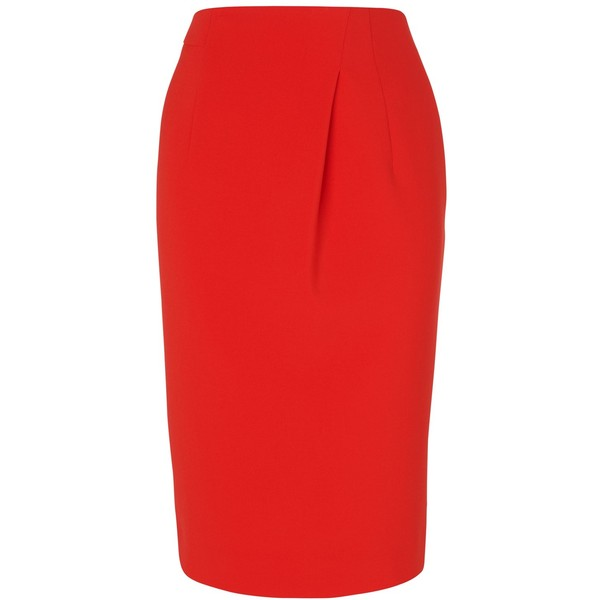 Jaeger Pleated Skirt, Bright Red - Polyvore