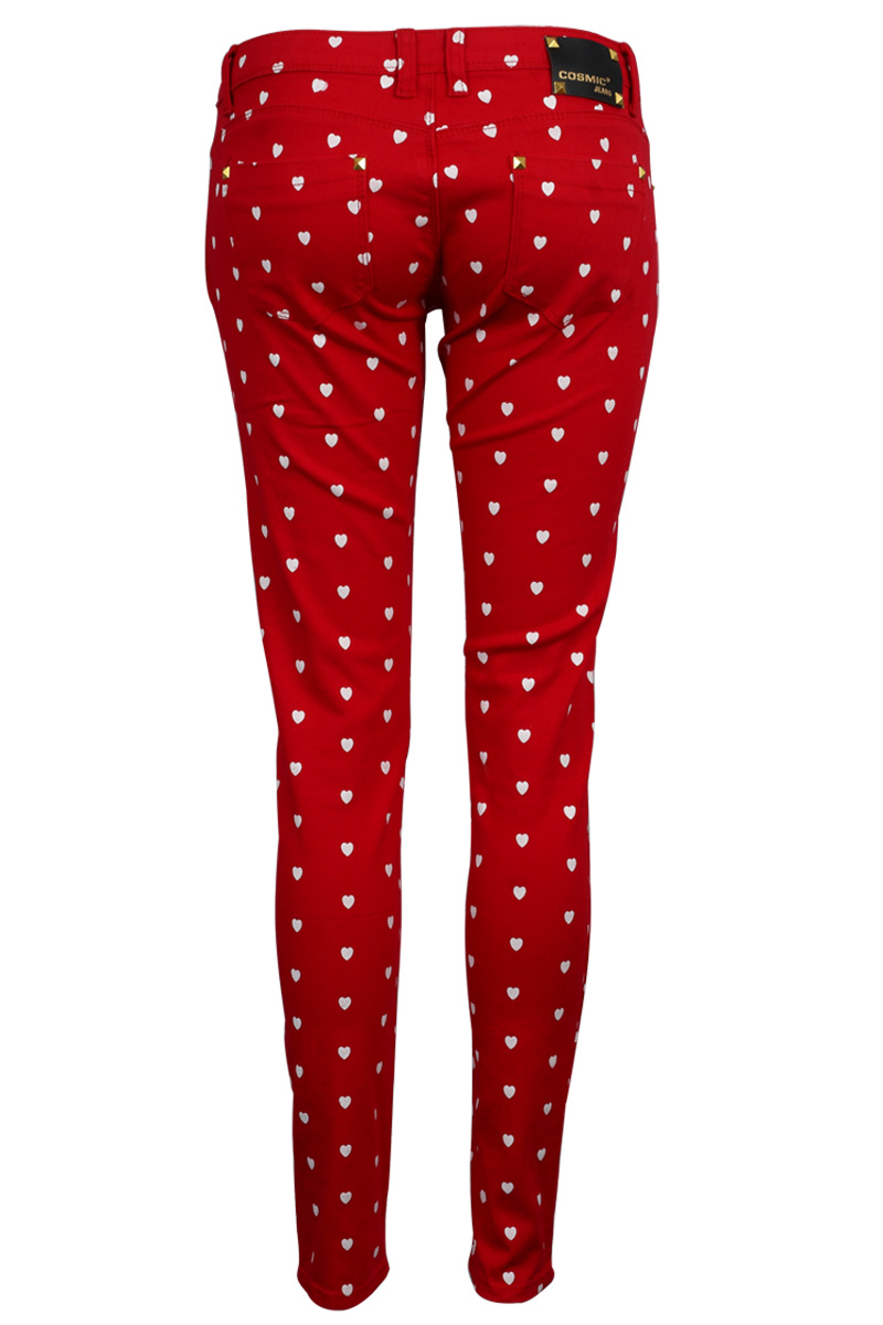 New Womens Red Hearts Print Ladies Casual Demin Skinny Slim Fit Jeans Size 6-14   eBay