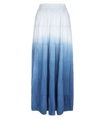 Cameo Rose Blue Dip Dye Gypsy Maxi Skirt