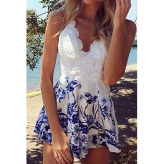 romper lace white blue details lace details flowers blue flowers summer tumblr white lace romper sleeveless dress cute