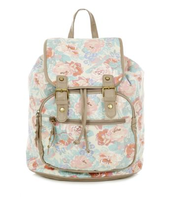 Stone Floral Print Contrast Trim Backpack