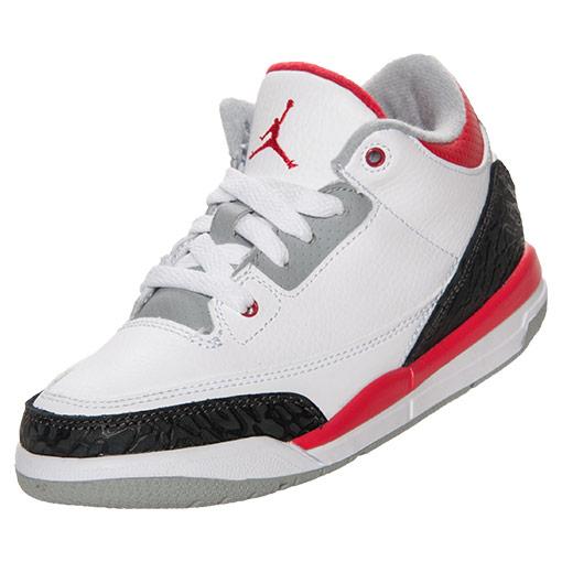 Boys' Preschool Air Jordan Retro 3 Basketball Shoes| FinishLine.com | White/Fire Red/Neutral Grey/Black