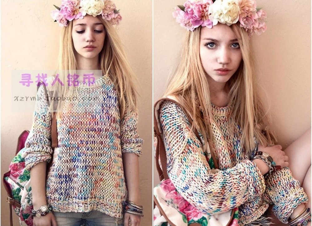 2013 Plus size Sweet Gentlewomen Topshop Vintage Rainbow jumper knitted Autumn  Summer Sweater Women Pullovers Brand Dress-inPullovers from Apparel & Accessories on Aliexpress.com