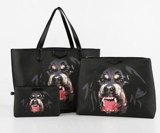 bag black purse dog