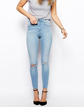 ASOS | ASOS Ridley High Waist Skinny Ankle Grazer Jeans in Watercolour Light Wash Blue with Ripped Knees at ASOS