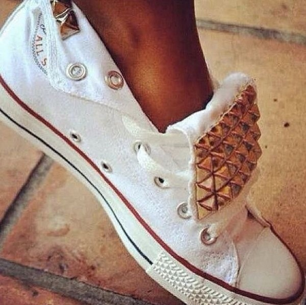 shoes white converse studs black all star