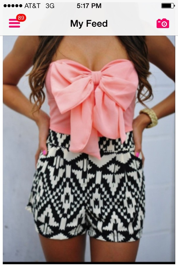 shirt pink pink bow bows crop tops strapless bow shirt