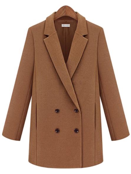 Camel Notch Lapel Long Sleeve Double Breasted Coat - Sheinside.com