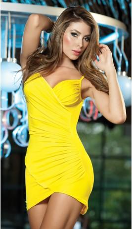 Yellow Cross Overlay Tank Dress