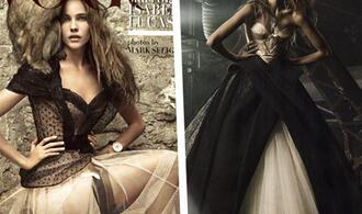 dress gold black isabel lucas vogue italia vogue italia italian